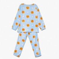 Kakao Friends Women Ryan Winter Pajama Set Sleepwear Blue Free Size GKKF0288