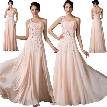 Grace Karin One Shoulder Chiffon Masquerade ball gowns Evening dress Long Prom Party Dresses = 1956812996