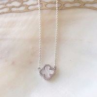 Small Mother of Pearl Clover Necklace