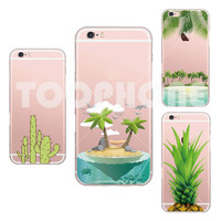 Green Pineapple Fresh Cactus Coconut Tree Pattern Phone Case For Apple iphone 5 5s se 6 6s Plus Crystal Transparent Shell Case