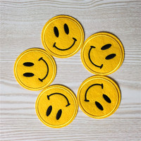 Free Shipping 1PC Cute Smile Face Stickers Embroidered Iron On Patches for Clothing Bag DIY Accessory Garment Applique A258