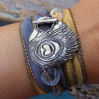 Summer Jewelry, Peacock Feather Bracelet, Hippie Jewelry, Summer Fashion, Fine Silver Sterling Silver Bracelet, Silk Wrap Bracelet
