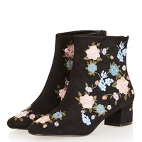BLOSSOM Floral Ankle Boots - Shoes