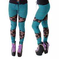 Late Night Leggings in Turquoise Stripes