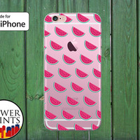 Pink Watermelon Slices Pattern Fruit Cute Summer Clear Rubber Phone Case for iPhone 5/5s and 5c and iPhone 6 and 6 Plus + and iPhone 6s