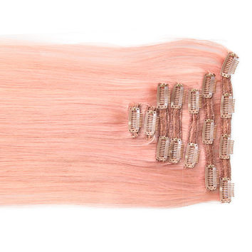 """Pretty Pink:  21"""" Clip In 100% Human Hair Extensions"""