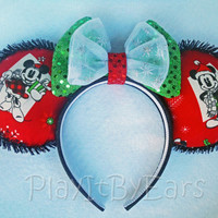 """Handmade """"Vintage Mickey & Minnie Christmas Presents Red"""" Mouse ears headband inspired by Disney"""
