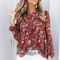 Meet Me Downtown Rust Long Sleeve Floral Print Top