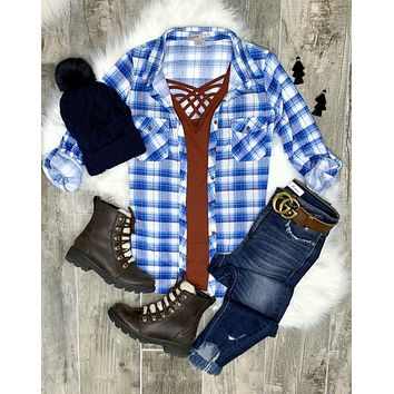Penny Plaid Flannel Top - Blue/Rust