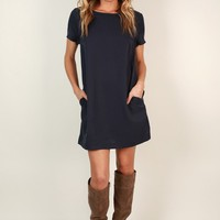 Just A Crush Cut Out Shift Dress in Navy