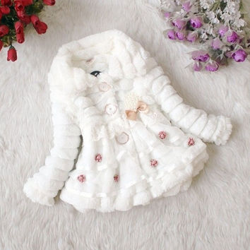 Baby Toddlers Girl Faux Fur Fleece Coat Kids Winter Warm Jacket Outwear Clothing = 1930494980