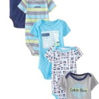 Calvin Klein Baby-Boys Newborn 5 Pa Creepers Navy and Gray Group