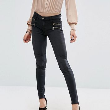 Lovers + Friends Cole Biker Jeans with Zips at asos.com