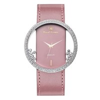 FunShop Women's Genuine Pink Leather Belt Wrist Watch with Luxury AAA Quality CZ Setting Round Hollow Out Dial and Shaking Rhinestones