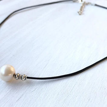 Leather pearl  necklace, single pearl necklace, single pearl choker, leather and pearls, pearl necklace, minimalist jewelry, back to school