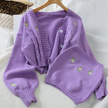 Cardigans Women Fashion Embroidery Sweater New Autumn Winter Ladies Knit Loose Casual Joker Crop Top  Matching Chest