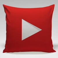YouTube icon full color Square Pillow Case Custom Zippered Pillow Case one side and two side