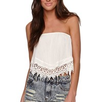 LA Hearts Crochet Trim Tube Top - Womens Shirts -