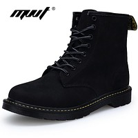MVVT Classic Black Winter Boots With Fur Keep Warm Fashion Men Boots Martin Boots Suede Mid-Calf Men Shoes