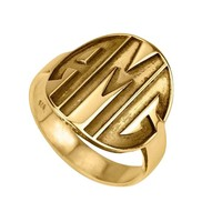 24K Gold Plated Sparkling Capital Font Monogram Ring
