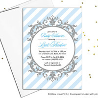 Unique baby boy shower invites printable baby shower invitations for boys - blue and gray -  digital file or printed  (736)