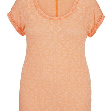 Plus Size - Burnout Ethnic Print Rolled Sleeve Tee - Melon