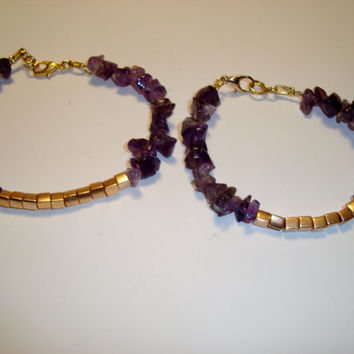 Amethyst and Gold Beaded Bracelet - BOHO Design - Natural Gemstone Chip Beads - Make a Statement - Choice of Size -  Stacking Bracelet