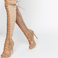 Daisy Street Taupe Lace Up Ghillie Over The Knee Boots