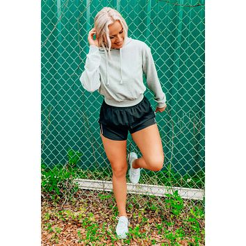 First Place Cropped Hoodie: Gray