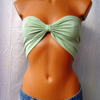 10% discount use coupon code cvetinka10 Sexy Sport Bandeau Yoga Summer Beach Bra Tube Top In Mint Green Bow Many Colors Available Any Size