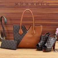 LV Louis Vuitton  new women's high quality three-piece Messenger bag F-KSPJ-BBDL brown