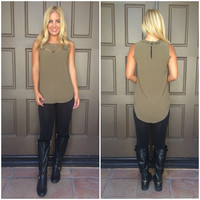 Here And There Cutout Blouse - OLIVE