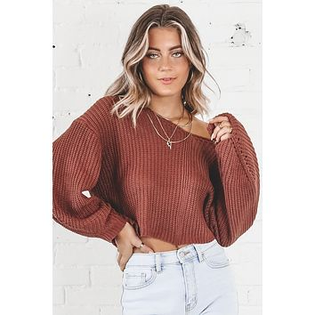 Wait A Minute Berry Knit Sweater