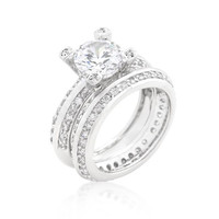 Cubic Zirconia Round Cut Pave Ring Set, size : 05
