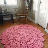 Giant Crochet Doily Rug, floor, candy pink- bubble gum- Lace- large area rug, Cottage Chic- Oversized- Rustic chic home decor- round rug