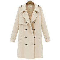 Cuffed Long-Sleeve Notched Trench Coat