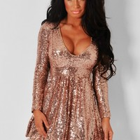 Kiss & Tell Blush Pink Plunge Neck Sequin Skater Dress | Pink Boutique