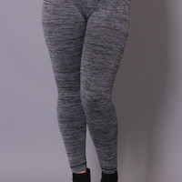 Plus Size Work Out Girl Leggings - Charcoal