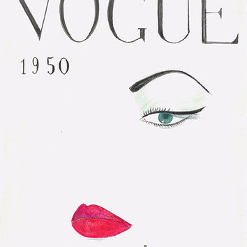 Hand Drawn 1950 Vogue Cover, Vogue Poster Print from Watercolor, Fashion Illustration, Fashion Wall Art