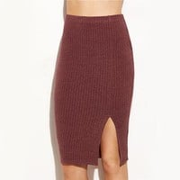 Ribbed Midi Pencil Skirt High Waist