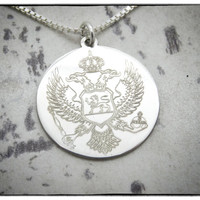 MONTENEGRO Coat of Arms Necklace - Sterling Silver Personalized State Country Love Heart Charm Penddant Chain, Hand Cut & Polished in USA