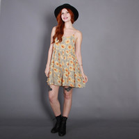 90s BROWN-EYED SUSAN Babydoll Dress / 1990s Sage Green Strappy Sunflower Floral Mini