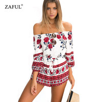 Brand Women Summer Bohemian Red floral print jumpsuits pants Off shoulder Long Sleeve Sexy Woman Romper Shorts Playsuit