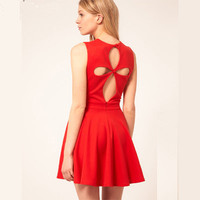 Hollow out Four Leaves Flower Dress