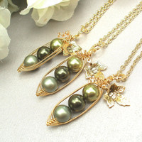 Set of 3 Three Peas In A Pod Necklaces - BFF, Best Friends, Bridesmaids or Family