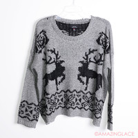 Reindeer Tracks Grey Oversized Sweater