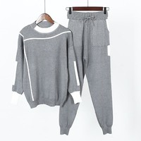 Women's Sets Winter Woolen and Cashmere Pattern Knitted warm Suit O-Neck Sweater + Harlan pants Trousers Leisure Two-piece