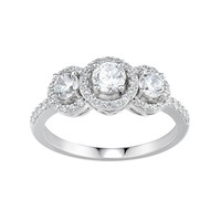 DiamonLuxe Simulated Diamond 3-Stone Engagement Ring in Sterling Silver (1 Carat T.W.) (White)