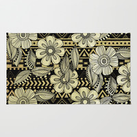 Floral Ink Area & Throw Rug by Louise Machado