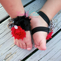 20%OFF .. Baby Barefoot Sandals..Cheetah, Black and Red..Toddler Sandals..Newborn Sandals